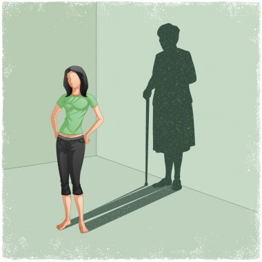 Young lady casting shadow of old woman
