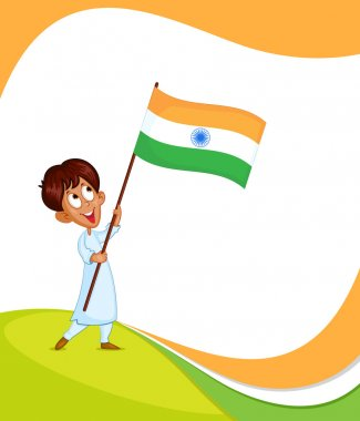 Indian boy hoisting flag of India