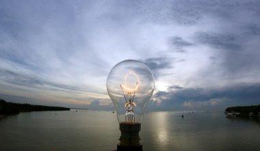 lightbulb on beautiful sky background