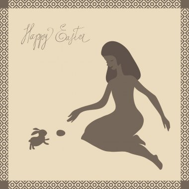 Easter card with girl and rabbit in light-brown colors