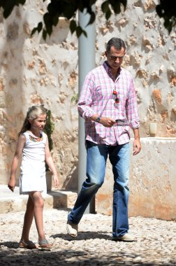 Spanish Royal Family in Raixa, a public estate in Serra de Tramuntana in Mallorca during the holidays. August 2014