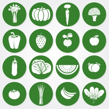 Green and white icons of vegetables and fruits