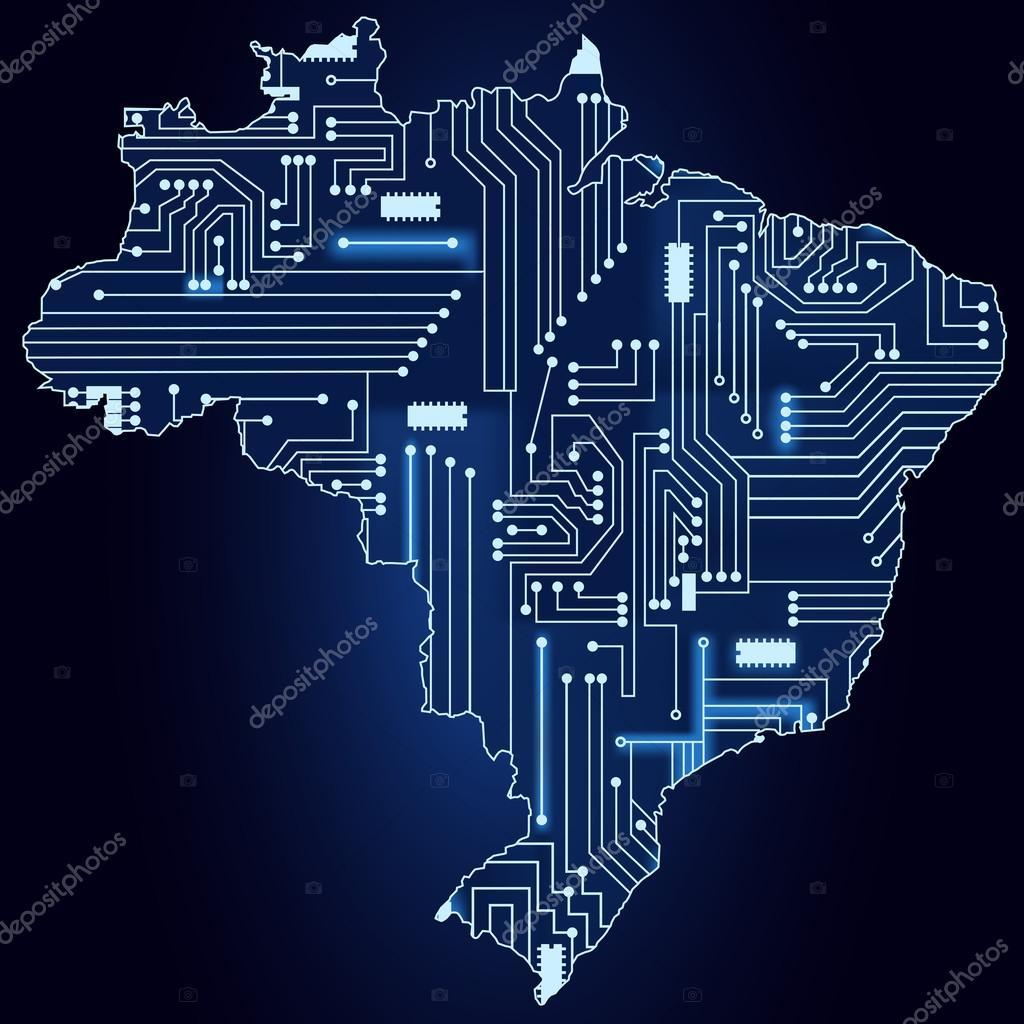 Circuito Eletronico : Mapa do brasil com circuito eletrônico u vetor de stock drical
