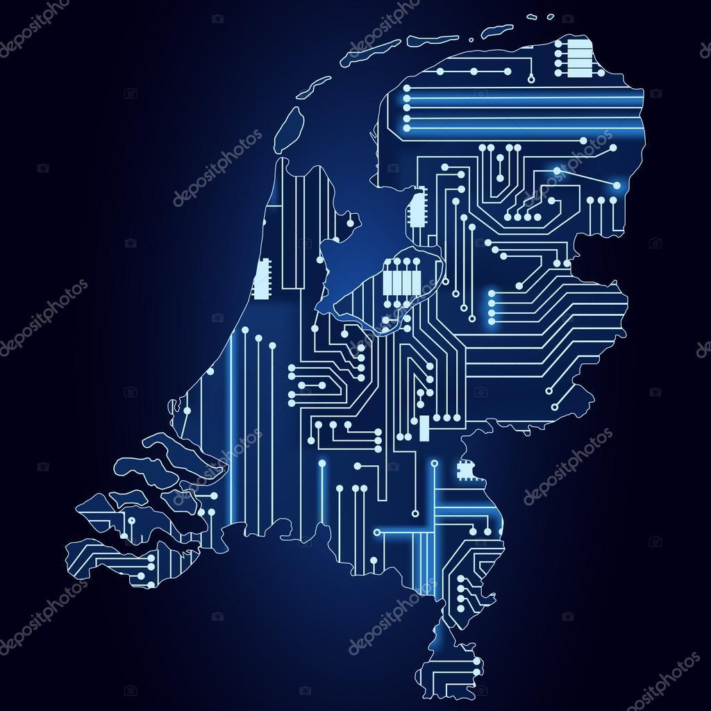 Circuito Holanda : Mapa de holanda con circuito electrónico u vector de stock