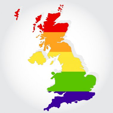 Rainbow flag in contour of United Kingdom