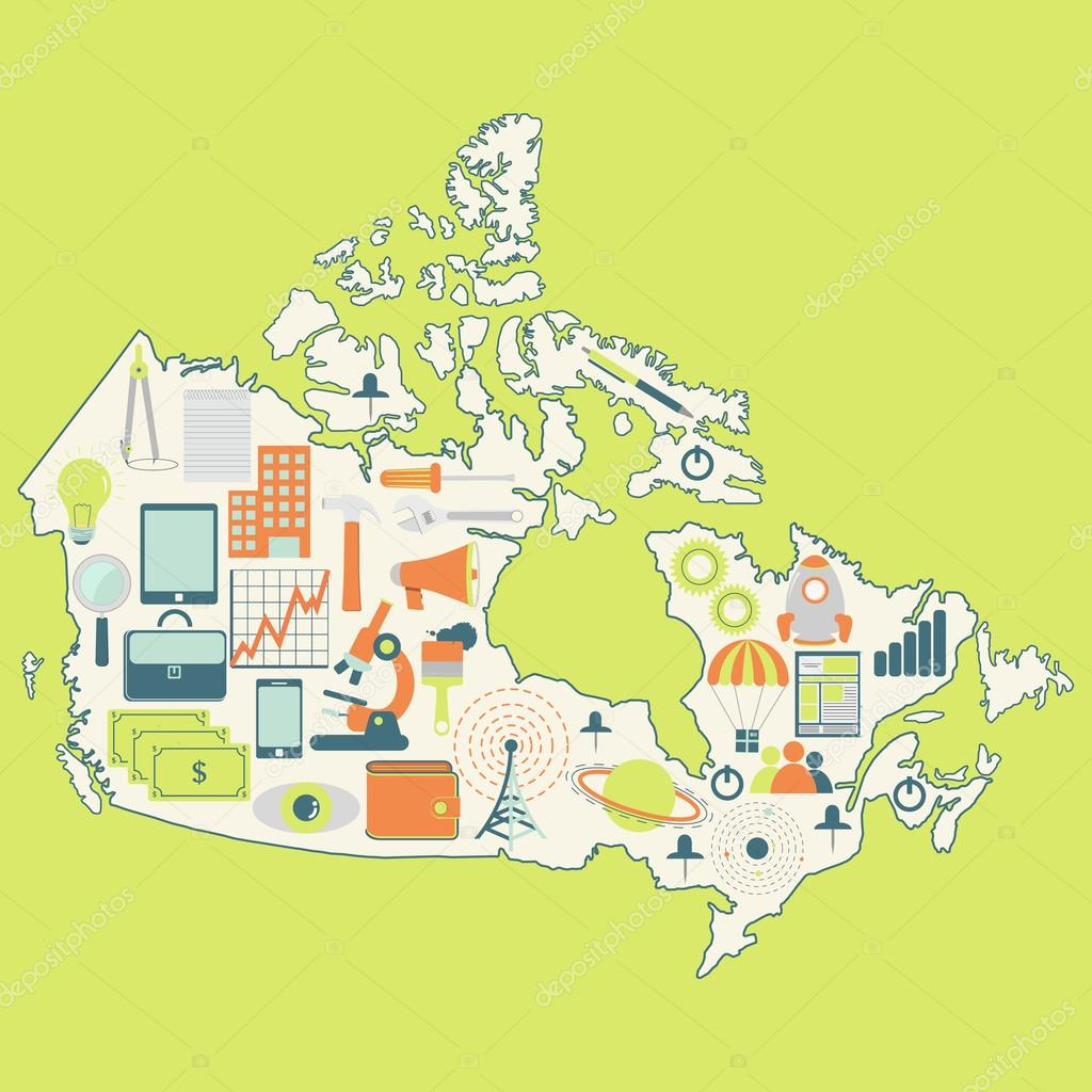 map of canada with technology icons u2014 stock vector drical 51079665