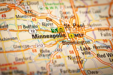 Minneapolis City on a Road Map