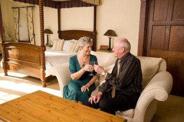 Senior couple celebrating