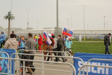 People  with Russian flags at the opening of the 2014 Winter Paralympics,Sochi.