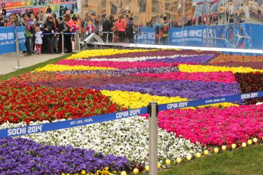 Queue to the Main Paralympic Shop and big motley flowerbed in the Olympic Park of Sochi.