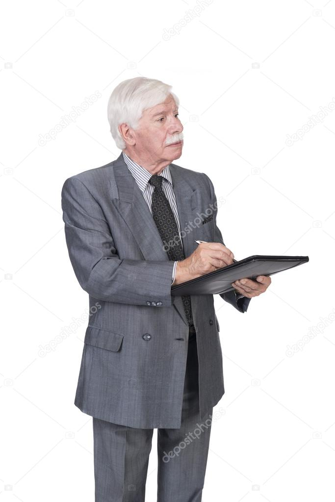 Old man in suit and gray hair writing stock photo infoelsa old man in suit and gray hair writing stock photo publicscrutiny Images