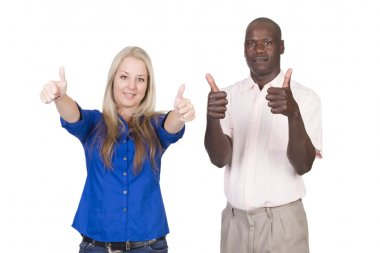 Mixed race couple thumbs up