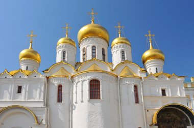 Russia, Moscow, The gilded onion domes of the Annunciation Cathedral.