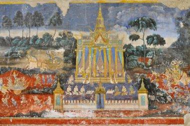 "Картина, постер, плакат, фотообои ""Рамаяна фрески старых картин на стенах Королевский дворец, Пном Пень, Камбоджа."", артикул 44381833"