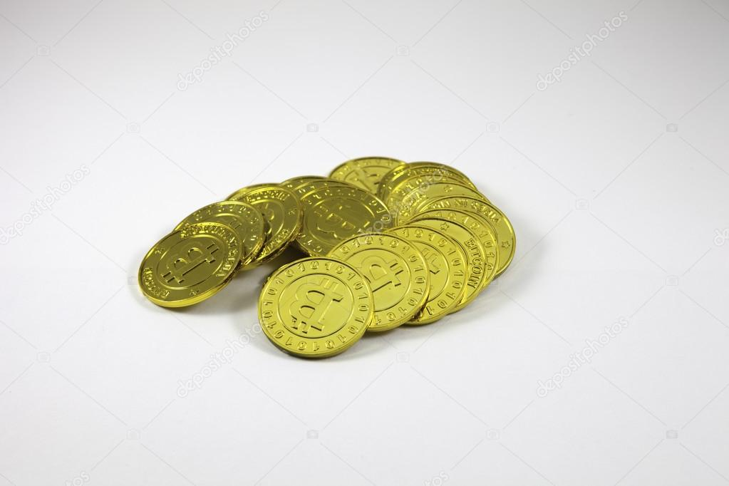 Pile of gold Bitcoins
