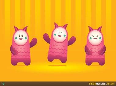 Cute Pink Pinata Monsters