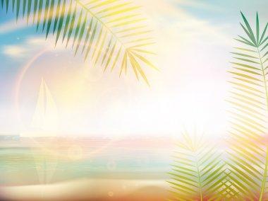 Sunrise on Caribbean beach design template.