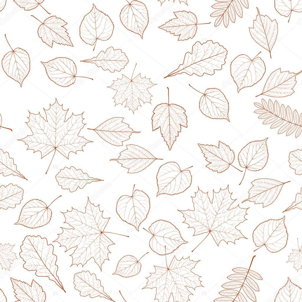 Seamless Autumn Leaves Pattern Template Stock Vector Glush2502