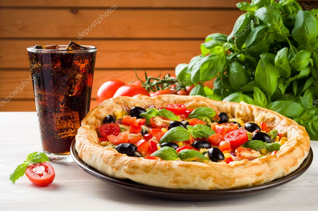 Pizza And Coke On Wooden Table Stock Photo Nioloxs 48866223