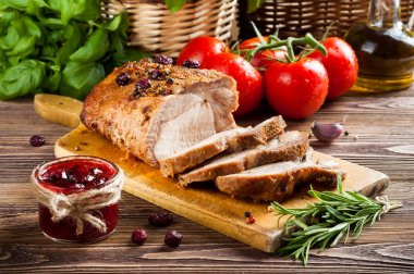 Roasted pork loin with cranberry and rosemary stock vector