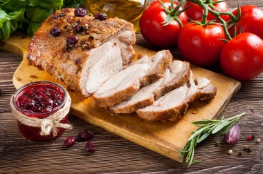 Roasted pork loin with cranberry and rosemary