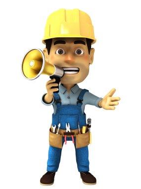 3d handyman with megaphone