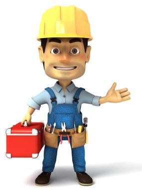 Handyman holding tools box