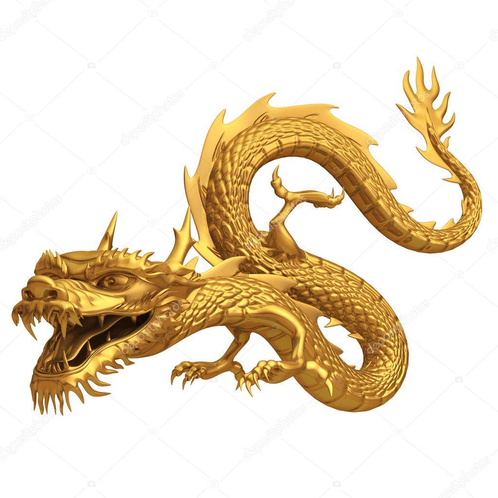 Pose d 39 un dragon chinois dor photographie - Photo de dragon chinois ...