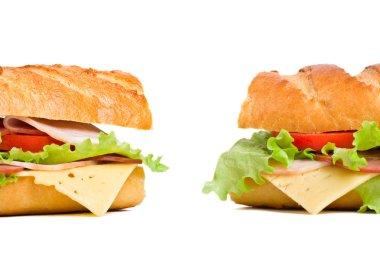 two baguette sandwiches