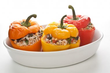 Stuffed peppers in a dish