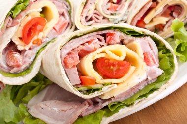 Wrapped tortilla sandwich rolls