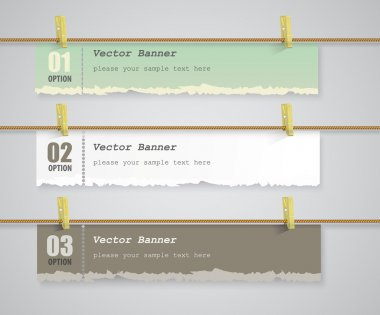 Old torn paper, a set of vector banners