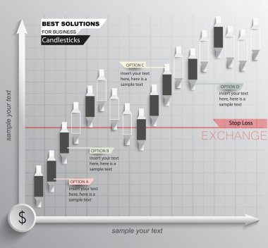 Stock graph with candlesticks