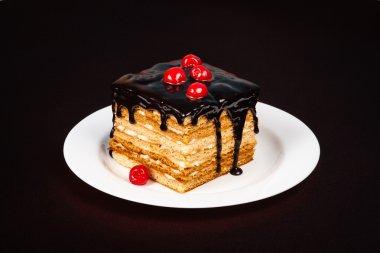 Luscious chocolate cake with fresh berries