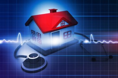 House with stethoscope on abstract medical background