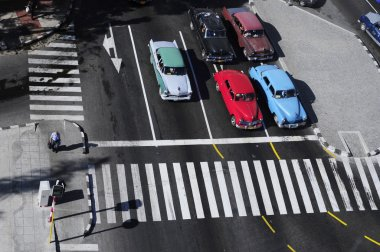 Aerial view of classic old American cars