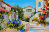 olejomalba na plátně krásné domy u moře