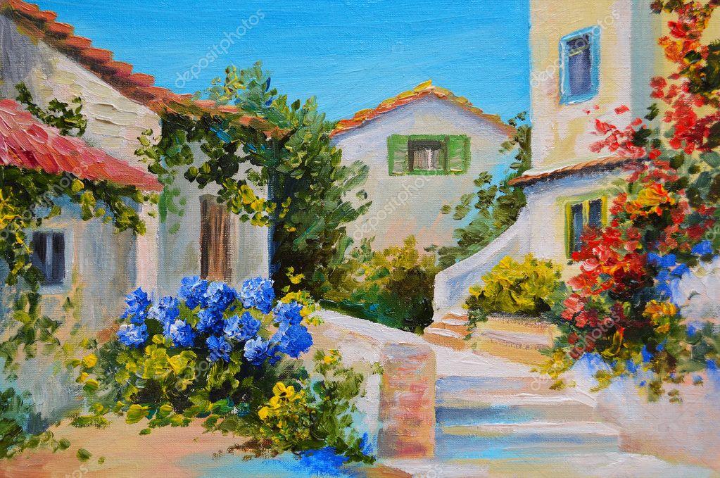 Pintura a leo sobre tela de uma belas casas perto do mar for La pietra tradizionale casa santorini