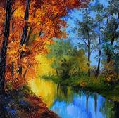 olejomalba - podzimní Les řeka