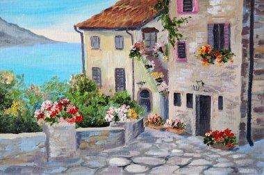 """Картина, постер, плакат, фотообои """"живопись маслом на холсте, красивые дома у моря"""", артикул 50302317"""