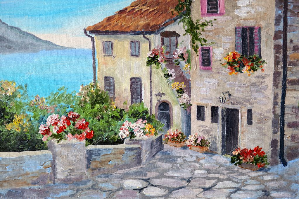 Oil painting on canvas of a beautiful houses near the sea