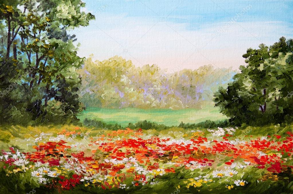 Oil painting - poppy field