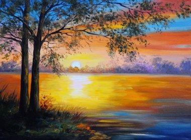 "Картина, постер, плакат, фотообои ""пейзаж масляной живописи - дерево у озера "", артикул 50367371"