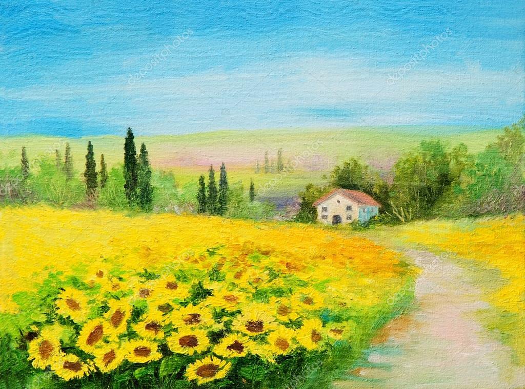 paesaggio dipinto ad olio - campo di girasoli — Foto Stock ...