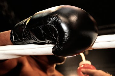 Boxing gloves during a professional boxing match