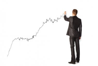 Businessman drawing graph isolated on white background