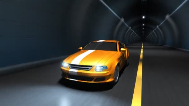 Sports car racing in a tunnel