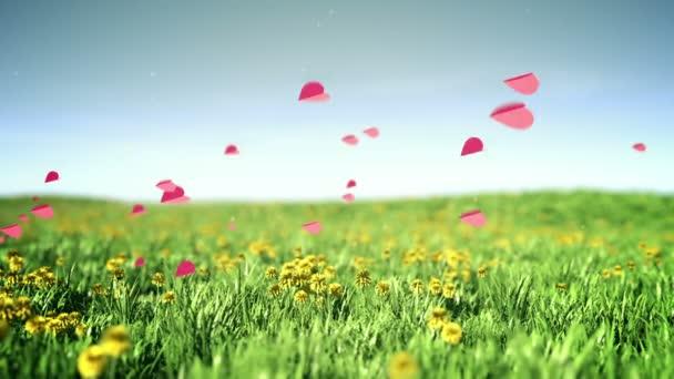 szívek repül át nyári füves területen