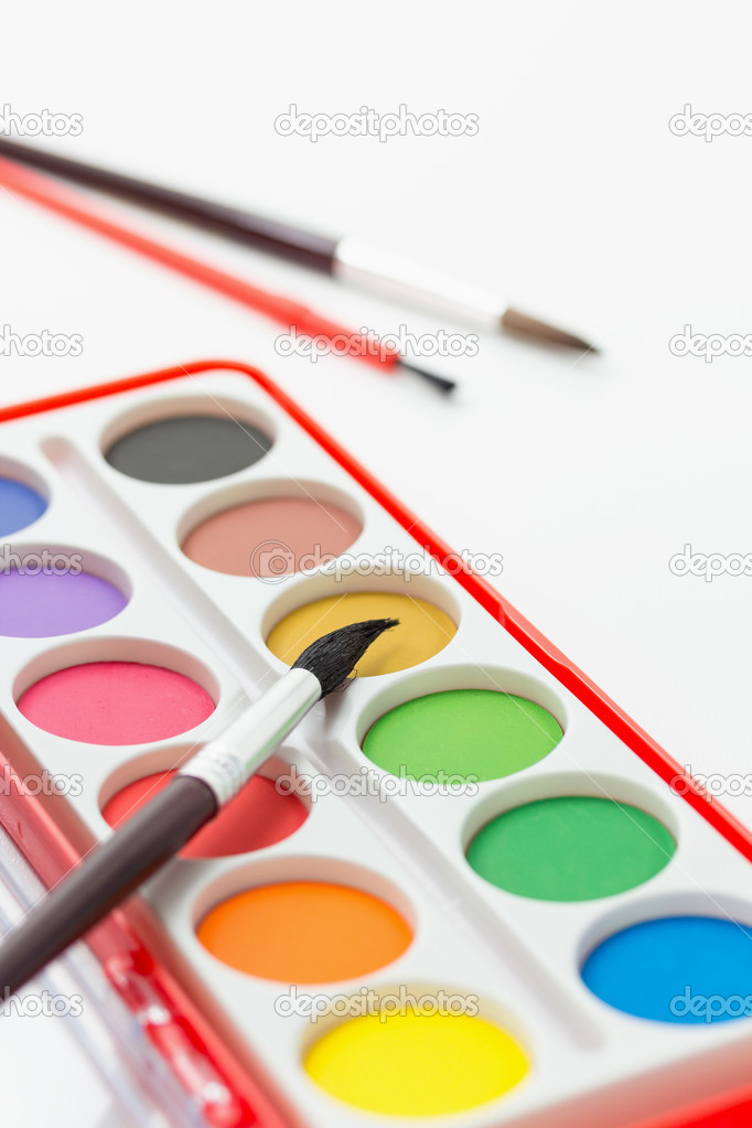 Watercolor paints set with brushes stock vector