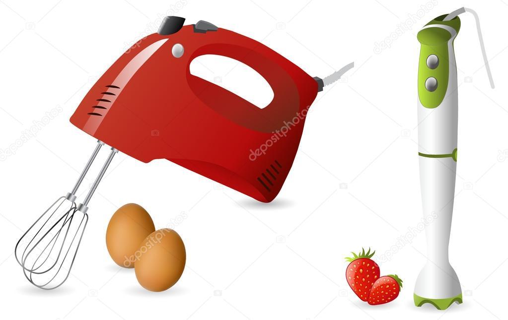 elektrische Hand-Mixer und blender — Stockvektor © Melica #46476479
